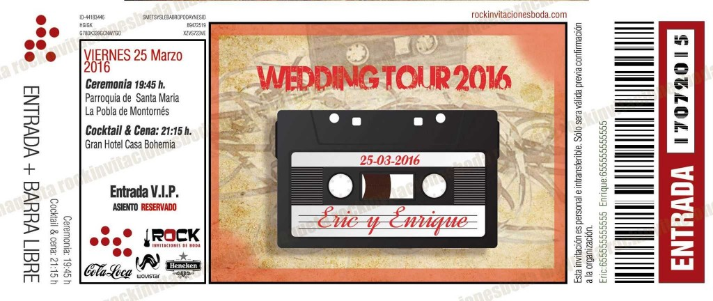 Invitaciones de boda cassette
