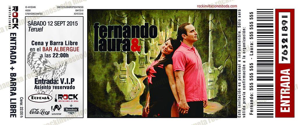 Maqueta descartada de las invitaciones de Laura y Fernando